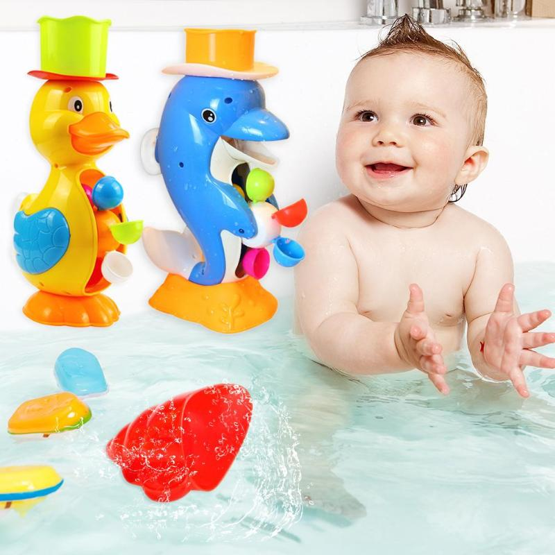 Kids Shower Bath Toys Cute Duck Waterwheel Dolphin Toys Baby Faucet Bathing Cartoon Animal Waterwheel Baby Faucet Bathing Toy