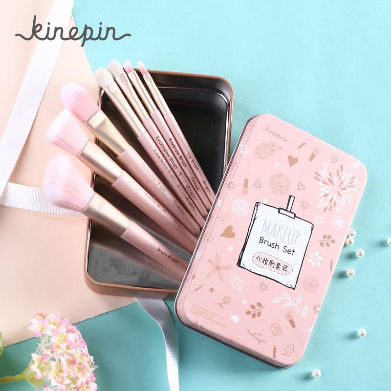 KINEPIN Makeup Brushes Set Portable Make Up Brush Set Eye Shadow Blending Eyebrow Brushes Kit Cosmetics Beauty Tools With Case