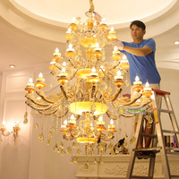 Современная большая люстра светильник Золотая Хрустальная люстра свет натуральный нефрит Домашнее освещение отель Вилла Висячие подвесны