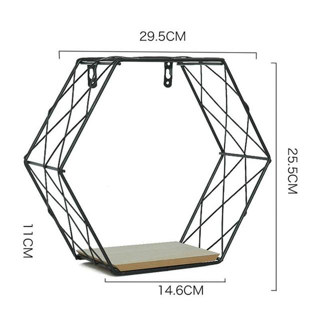 Iron Hexagonal Grid Wall Shelf Combination Wall Hanging Geometric Figure Wall Decoration For Living Room Bedroom 3