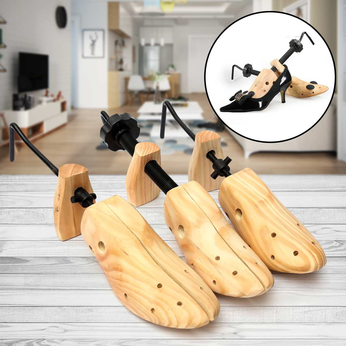 1Pcs Unisex Wooden Shoe Support Tree Stretcher Shaper Keeper Expander Adjustable