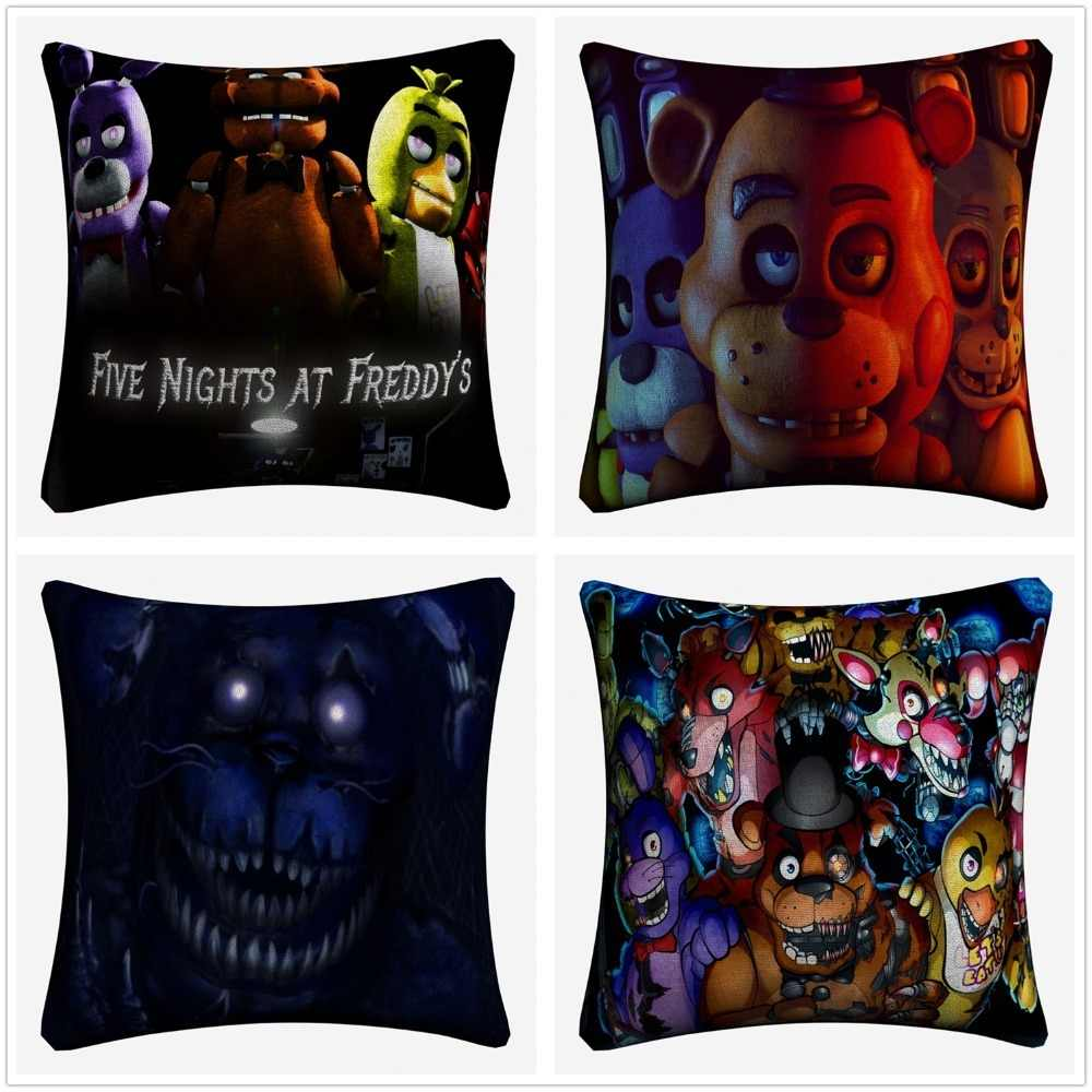 Five Nights At Freddys Game Cotton Linen Cushion Cover 45x45cm Decorative Pillow Case Sofa Home Decor Pillow Covers Almofada