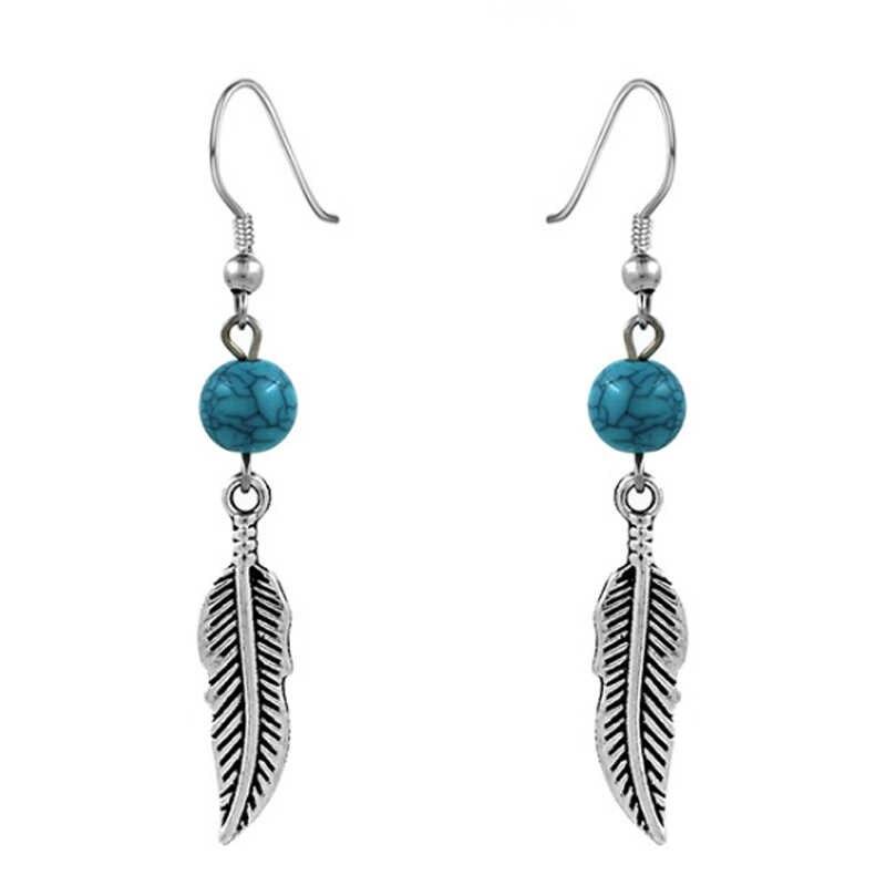 New Arrival exquisite niebieski kamień 1 para srebrny prezenty spadek kolczyki proste koralik pióro prezenty świąteczne Bohemia Leaf