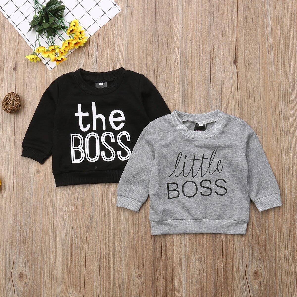 0fae2ac97 Brand New Toddler Kid Baby Boys Girls Long Sleeve T shirts Little Boss  Black Gray Sweatsuit Sweatshirt Autumn 0-5Y