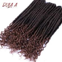 Dula 20 дюймов богиня Faux Locs вьющийся кроше синтетические накладные волосы мягкие Dread Locs крючком косы