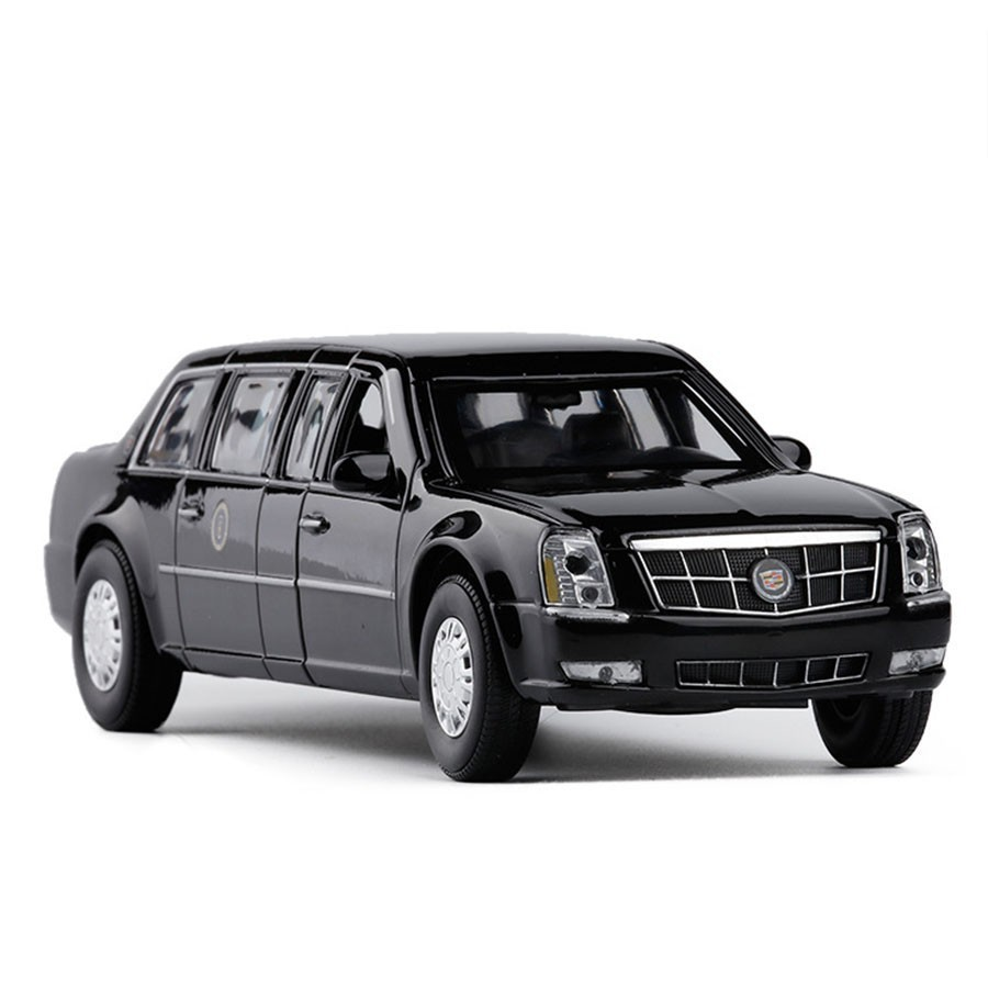 1/32 Diecast Cadillac DTS Presidential <font><b>Car</b></font> Alloy <font><b>Car</b></font> <font><b>Model</b></font> Army One Metal Luxury <font><b>Car</b></font> Cadillac Vehicle Auto Toys With Sound Light image