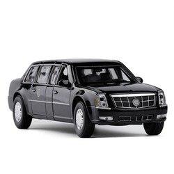 1/32 Diecast USA DTS prezydencki samochód aluminiowy Model samochodu armia jeden Metal luksusowy samochód Cadillac pojazd Auto zabawki z dźwiękiem i oświetleniem