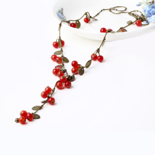 Sale Vintage Sweet Cherry Pearl Cute Long Necklace For Women Sweater Chain Pendant Fashion Jewelry Wholesale vintage faux pearl embellished body chain for women
