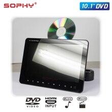 Monitor de coche de 10,1 pulgadas con DVD, USB, SD, MP5, transmisor FM IR, juego, entrada de vídeo HDMI, salida SH1068 DVD