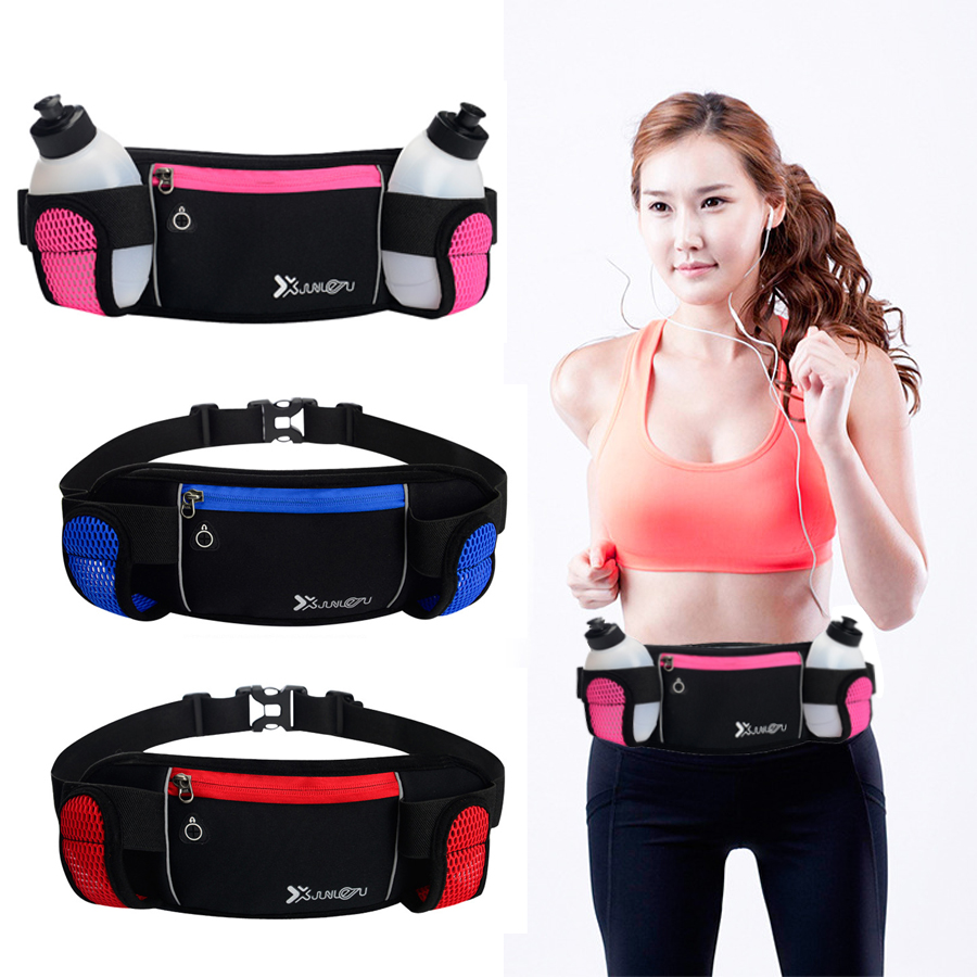 e06a6a058468 US $9.68 49% OFF|Running Belt Water Resistant Elastic Men Waist Bag With 2  Water Bottles Waist Pack for Trail Running Accessories for Cell Phone-in ...
