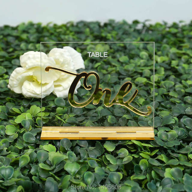Custom Clear Acrylic Wedding Table Numbers Calligraphy Gold Mirror Wedding Signs Number acrylic table numbers