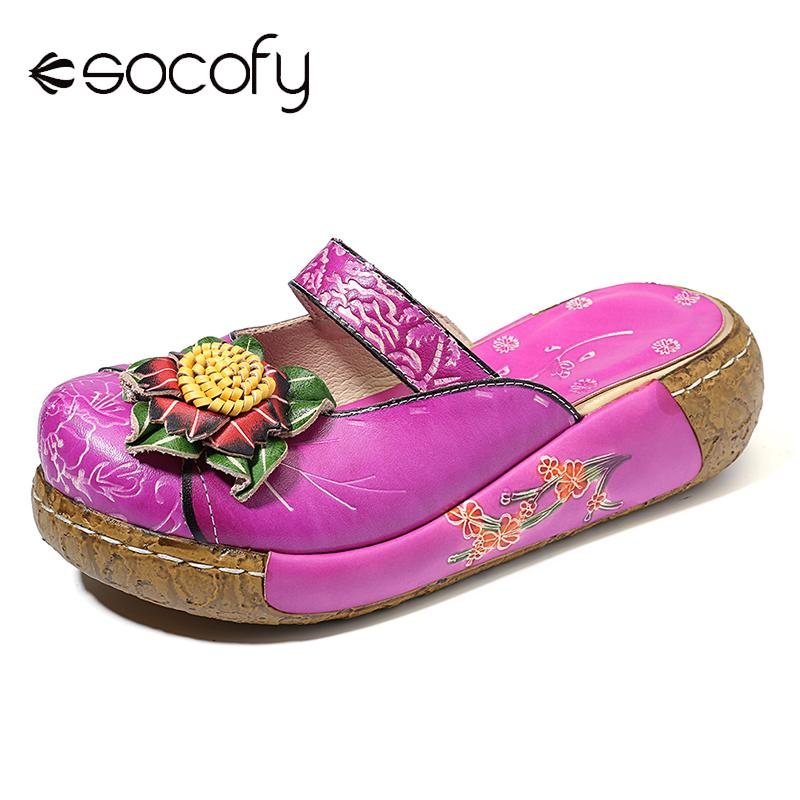 SOCOFY Genuine Leather Retro Floral Pattern Stitching Big Head Platform Comfortable Sandals Casual Vintage Flat Shoes Women 2020