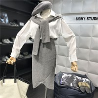 Women Two Piece Set Knitted Patchwork Shirt Tops Casual Wrap Skirt Female Office Suit Set Women Costumes 2 Piece Set