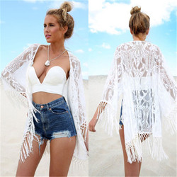 Boho Women White Lace Floral Beach Cardigan Shirts Lady See-Through Tassels Cover Up Wrap Beachwear Loose Sleeves Long Blouse