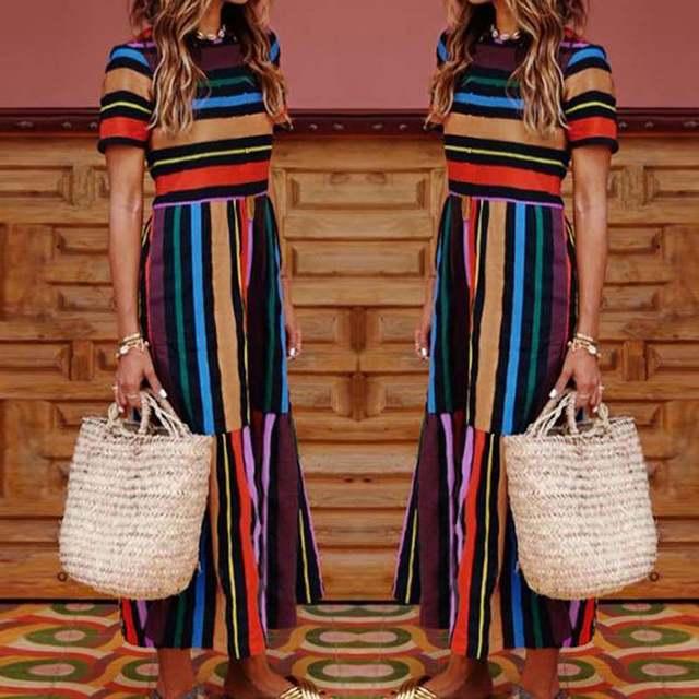 a2dfc594486b Precio bajo Celmia 2019 mujeres Vintage a rayas camisa vestido ...