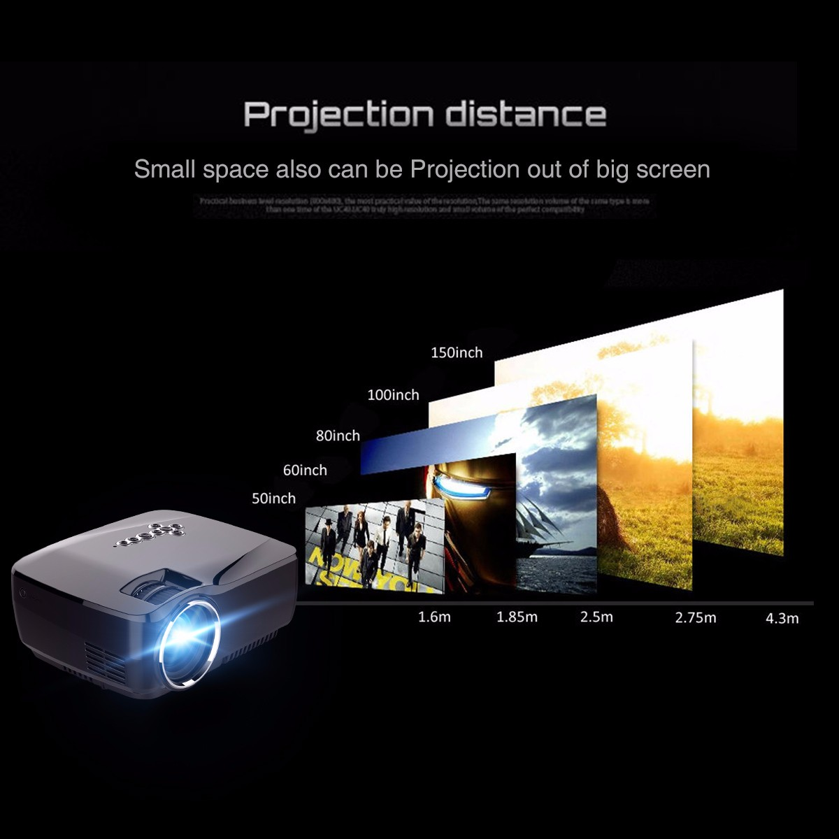 GP70UP Android 4.4 Mini LED Projector Portable HD Beamer for Home Cinema Android WIFI Proyector Smart Optional 1080p Video Проектор