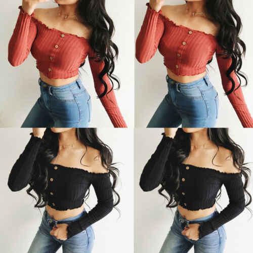 Moda damska Off Shoulder Crop top z długim rękawem sweter czarne grzyby krawędzi T-shirt 2019 nowy