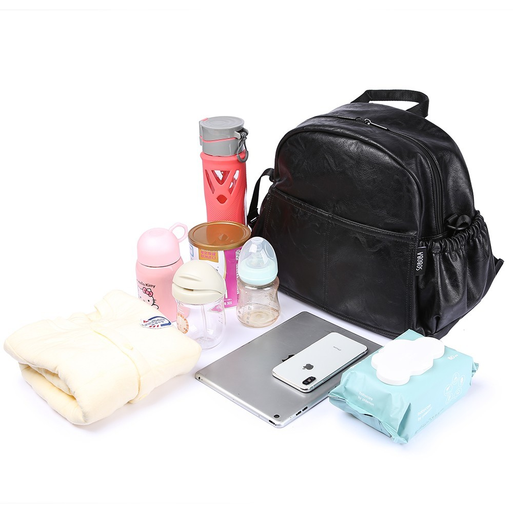 Mode maternité Nappy sac à langer pour mère noir grande capacité mode sac à couches avec 2 sangles voyage sac à dos pour bébé - 4