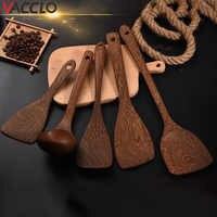 Vacclo Outils de Cuisine cuillère à soupe en bois spatule en bois pour poêle Outils de cuisson ménage sauté pelle Cuisine Outils Accessoires