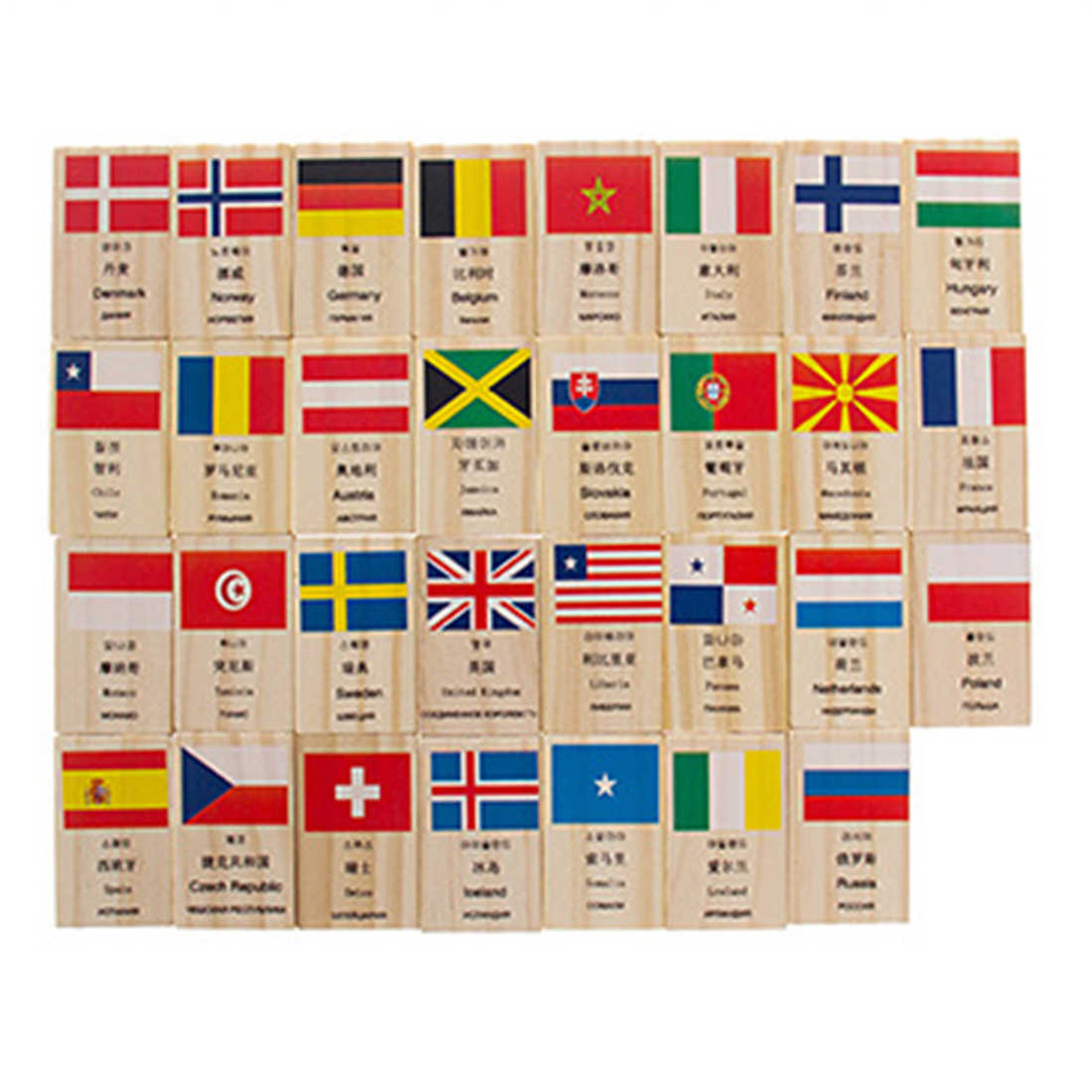 100 шт мировой Национальный флаг шаблон домино настольные игры Обучающие средства развивающие игрушки