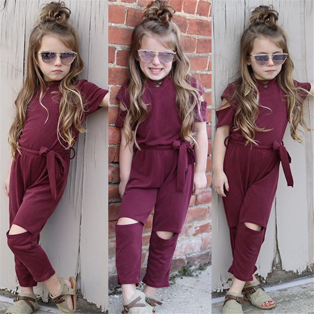 Pudcoco Girl Jumpsuits 2Y-7Y Trendy Kids Baby Girls Holes Romper Jumpsuit Outfits Clothes Playsuit