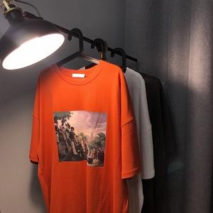 Image 5 - 2019 Zomer Koreaanse Versie Van De Campus Mode Trend Paar mannen Korte mouwen Casual Losse Ronde Hals Print sport T shirt