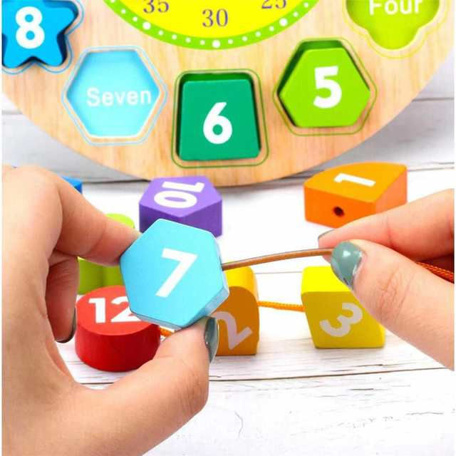 Wooden Children DIY Clock Shape Baby Sorting Learning Educational Life Skills Puzzle Game Baby Toys Kids Bricks Toddler Gifts