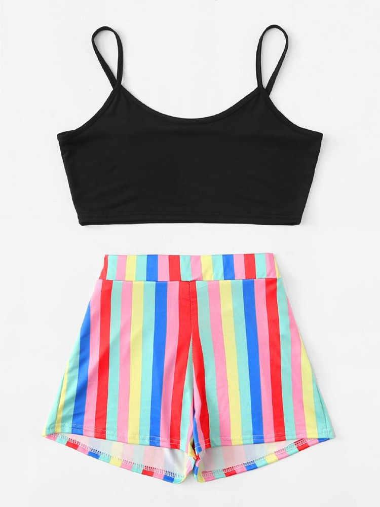 Kobiety moda Rainbow zestaw stałe procy Top + Rainbow krótki spodnie sportowe damskie moda lato strój zestawy 2019 gorąca sprzedaż