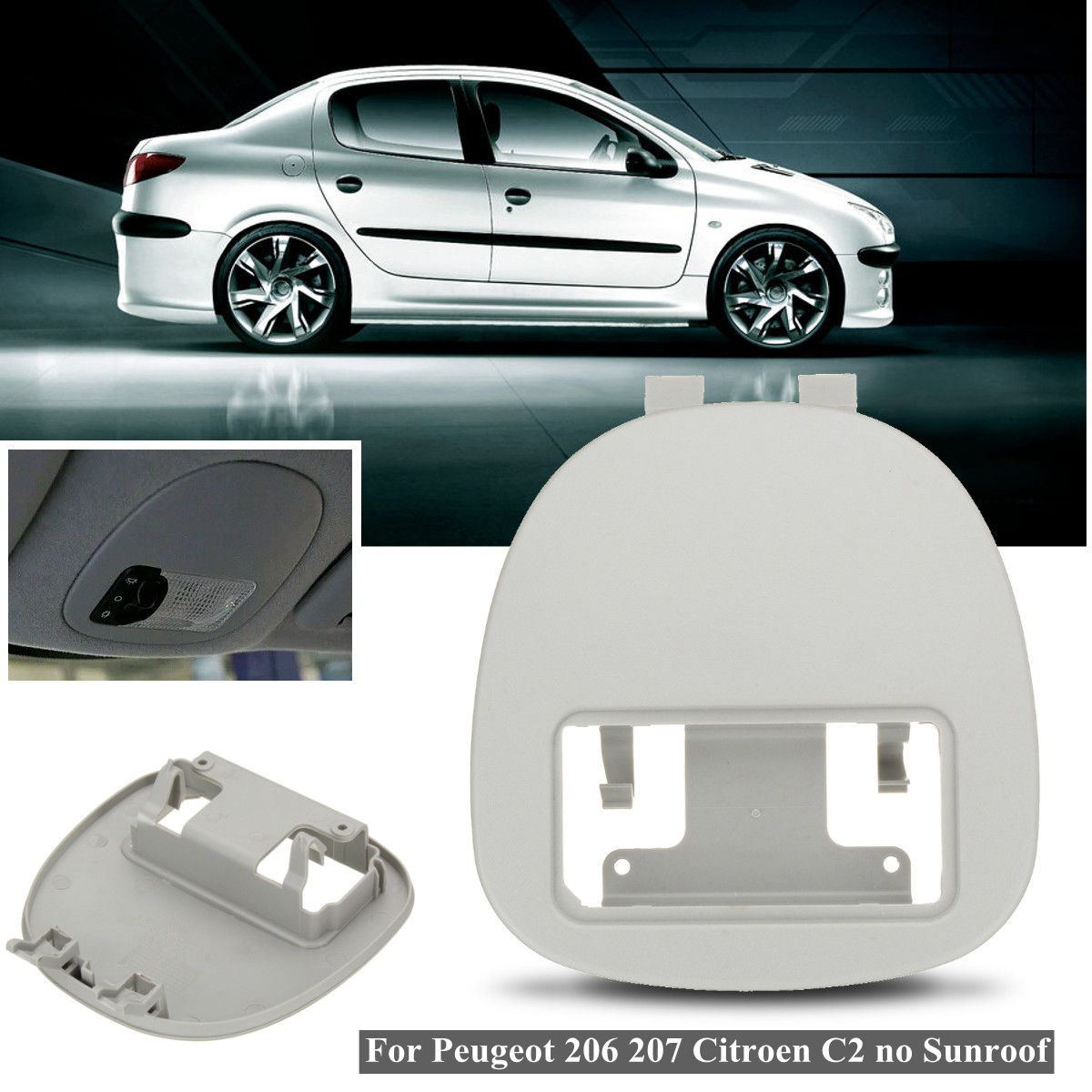 Car Front Interior Dome Reading Light Lamp Shield Panel Cover for Peugeot 206 207 for Citroen C2 9625049077Car Front Interior Dome Reading Light Lamp Shield Panel Cover for Peugeot 206 207 for Citroen C2 9625049077