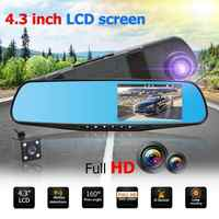 "4,3 ""TFT Dual Len HD Auto SUV DVR Video Dash Kamera 1080 P Wasserdichte G-Sensor Video Tachographen cam Fahren Recorder"
