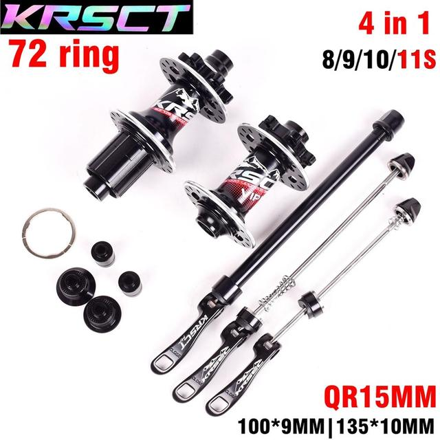 KRSEC Front Rear Hub 32 Holes Bicycle Hubs QR Thru Axis 5 Bearings 6 Pawls 72 Clicks AM FR MTB Mountain Bike Ultralight 465g
