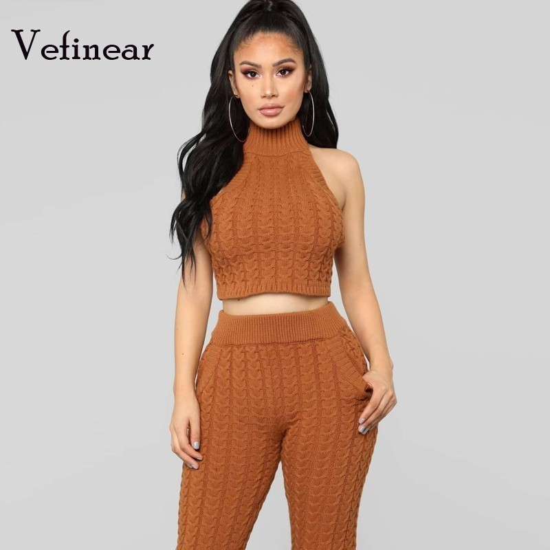 25050e40694 Two Piece Set Women Clothes Autumn Winter Outfits Sleeveless Halter Knit  Sweater Tops+Bodycon Pant Suit Sexy Matching Sets