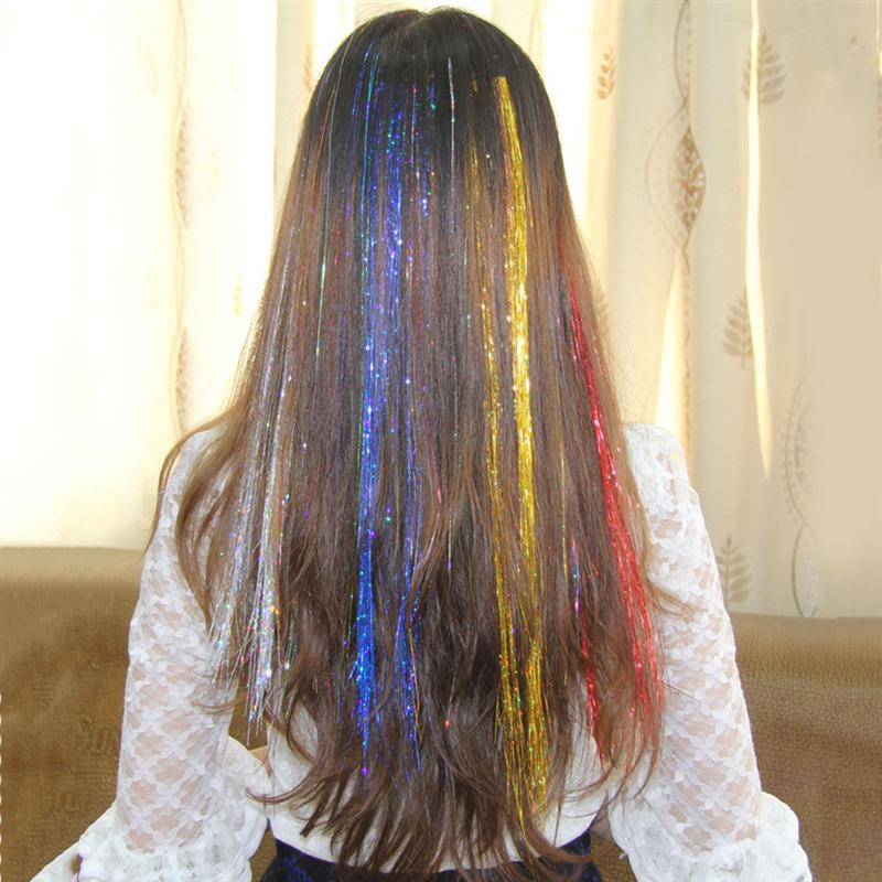 9pcs Colored Clip in Hair Extensions Dazzle Colour Fiber Fake Hair Pieces Fashion Hairpieces