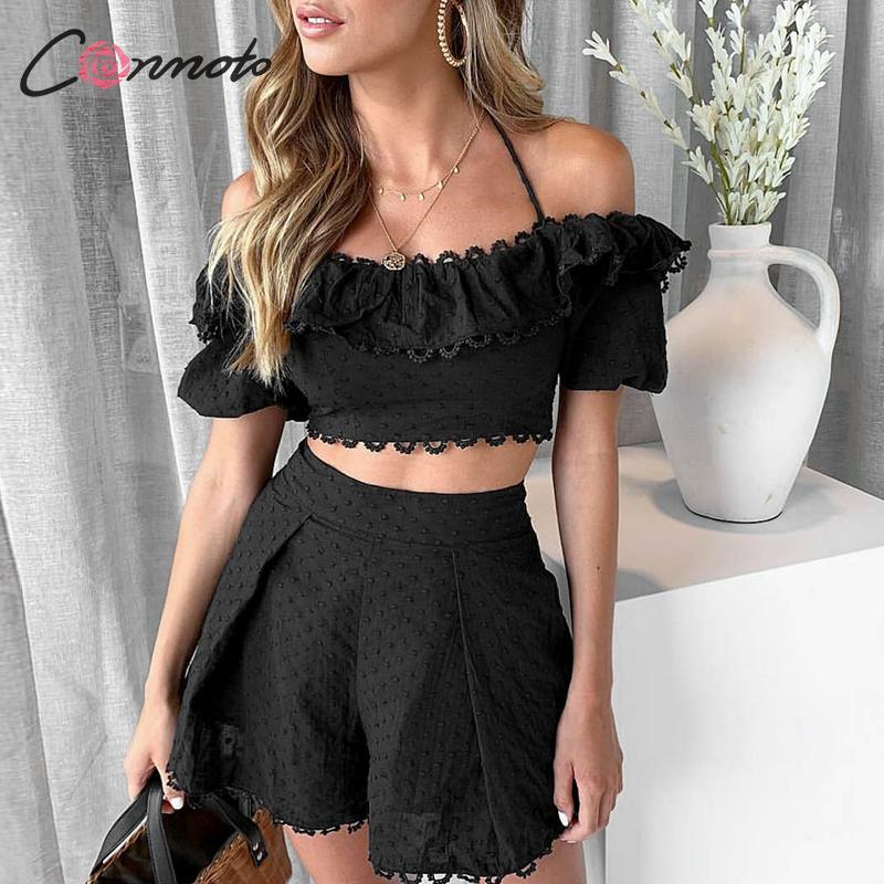 Conmoto Fashion White Embroidery Polka Dot Shorts Women Suit 2019 Summer Sexy Strap Ruffle Crop Tops Female Beach Holiday Set