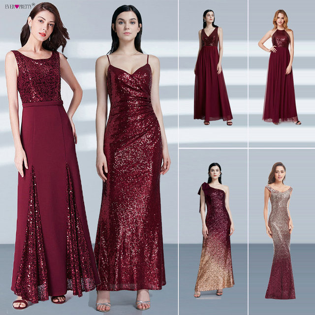 Robe De Soiree Longue Ever Pretty Cheap Little Mermaid Burgundy Red Sexy Evening Dresses Sequined Sparkle Plus Size Party Gowns