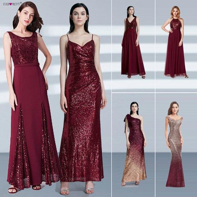 גלימת דה Soiree לונג אי פעם די זול בת הים הקטן בורדו אדום סקסי ערב שמלות נצנצים Sparkle בתוספת גודל המפלגה שמלות