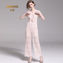 New Pants, Ruffled, Short-sleeved, Sweet Pink Lace Trousers, Summer Micro-horn, Waist, Jumpsuit, Woman Rompers Womens Jumpsuit(China)
