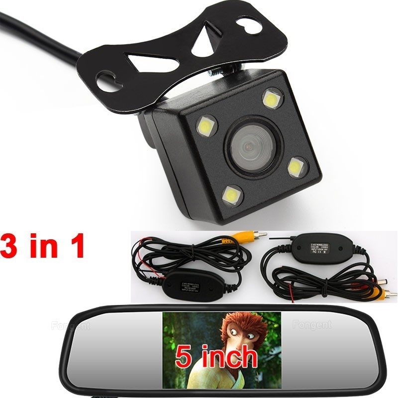 High Resolution HD 5 Inch Car Mirror Monitor 2 AV Video Input 800*480 DC 12V~24V Car Parking Monitor European Plate Rear Camera