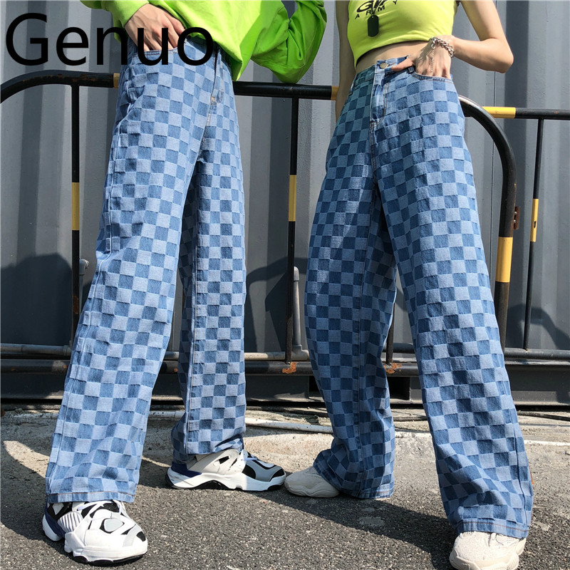 Harajuku Vintage Ins Hot Plaid Pattern Washed Unisex Loose Long Pants Jeans