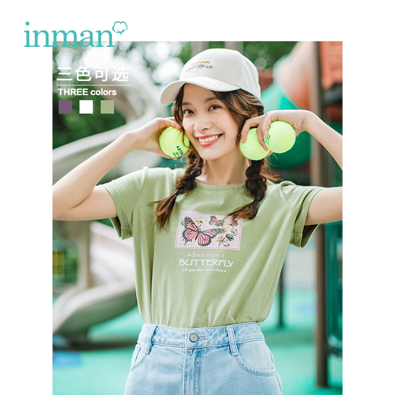 INMAN 2019 Summer New Arrival Cotton O-neck Short Sleeve Casual All Matched Print Slim Women T-shirt
