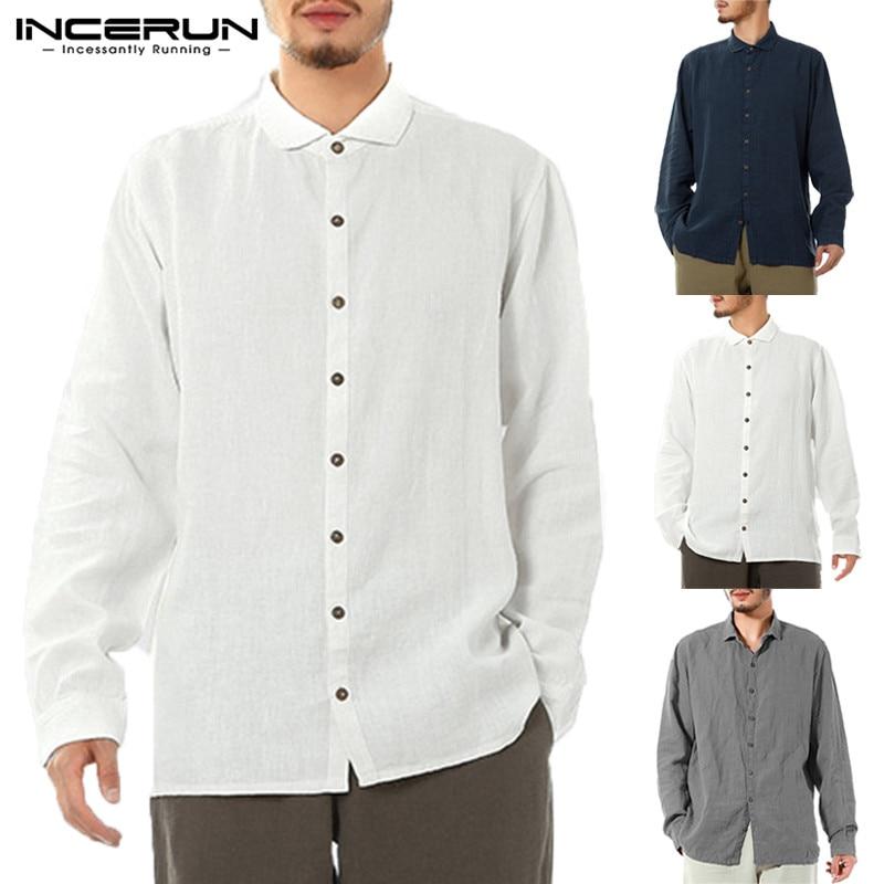 1eaf3b05 Fashion Mens Casual Shirts Long Sleeve Turn Down Collar Autumn Tee Clothes  Chemise Camisa Hombre Social Shirts Plain White Tops