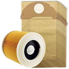 Sanq Voor Karcher Nat & Droog Wd2 Stofzuiger Filter En 10x Stofzakken
