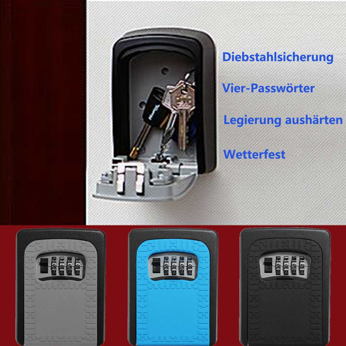 Home Keys Car Keys Protect Password Lock Outdoor 4 Digit Key Box Password Combination Security Storage Safe Waterproof Lock Wall