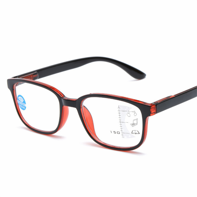 Das Mulheres Dos Homens Óculos de Leitura Multifocal progressiva Quadrado Anti luz azul Óculos de Armação Perto Longe da Vista de Dioptria 1.0 1.5 2.0 2.5 3.0