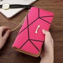 Wallet Geometric Pattern Long Ladies Single Pull Large Capacity Korean Version Clutch Bag Tide