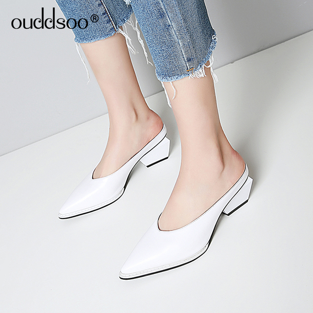 ODS Mules Shoes Women 2019 Sexy Summer Pumps Pointed Toe Solid Slippers Sandals 6cm Height Medium Heels Loafers Flip Flops Black