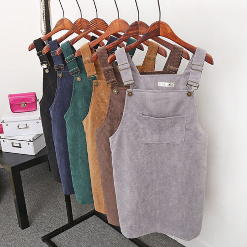 New Summer Women Corduroy Suspender Overall Vest Jumpsuit Braces Skirt Suspender Skirts Preppy Style