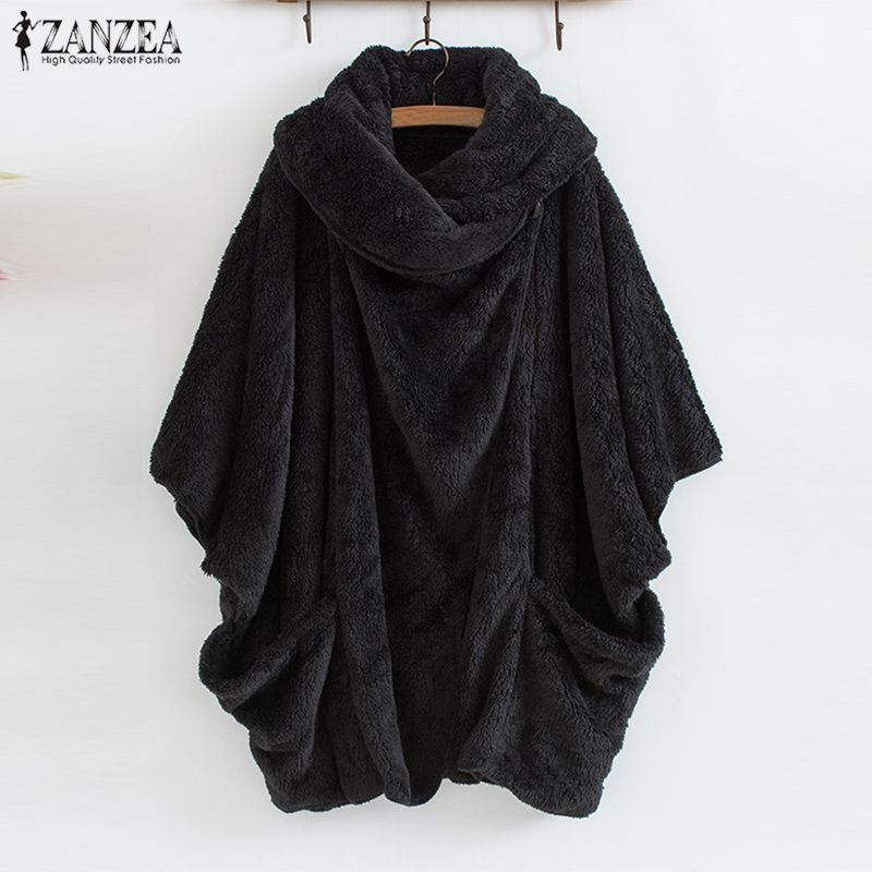 ZANZEA Women Plush Fluffy Coat Autumn Batwing Sleeve Jacket Female Button Outwear Poncho Winter Warm Solid Cardigan Oversized