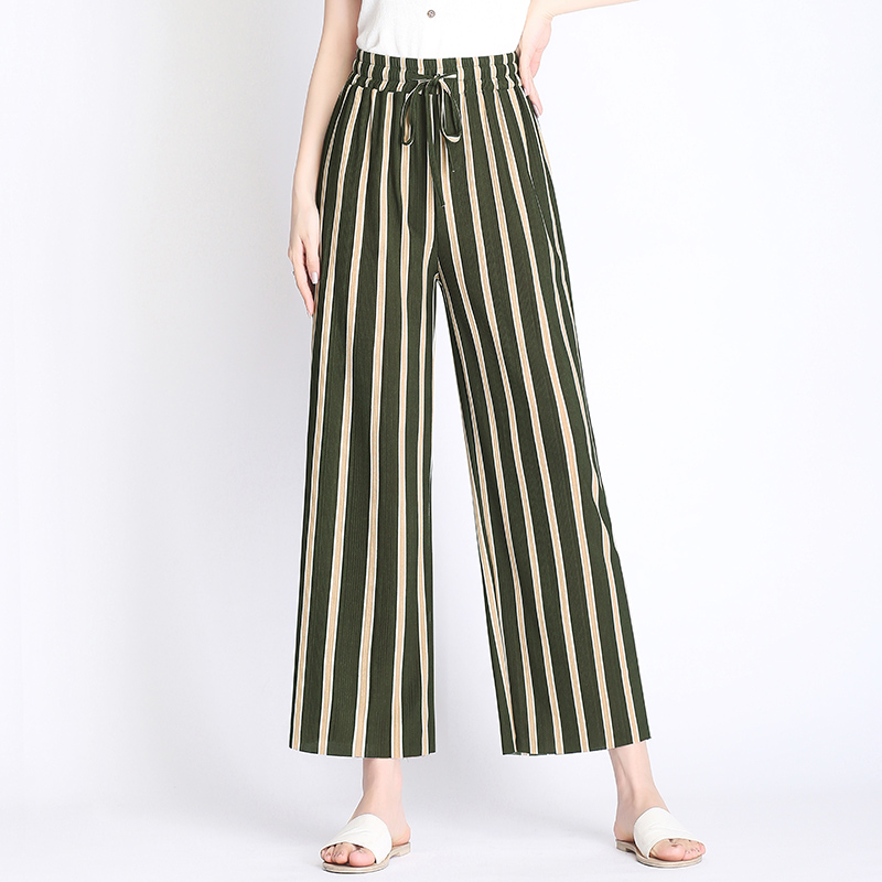 Pants   Women 2019 Spring Autumn Style Black Green Striped Loose   Wide     Leg     Pants   Elastic Waist Streetwear Trousers