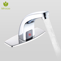 Mrosaa 220V Automatic Inflared Sensor Water Saving Electric Water Tap Smart Touchless Coldwater Sensor Faucet For Bathroom Sink